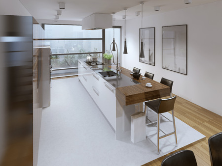 kitchen island: Contemporary kitchen style. Interior bright spacious modern kitchen with a functional kitchen island bar. White walls. 3D render Stock Photo