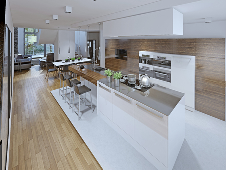 Loft kitchen with dining room