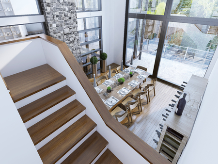 stairs interior: Top view of a modern dining room design. Spacious room with two-story paronamnymi windows, a fireplace with a stone chimney and a wine bar. The contrast of white and brown in a modern interior. 3D render