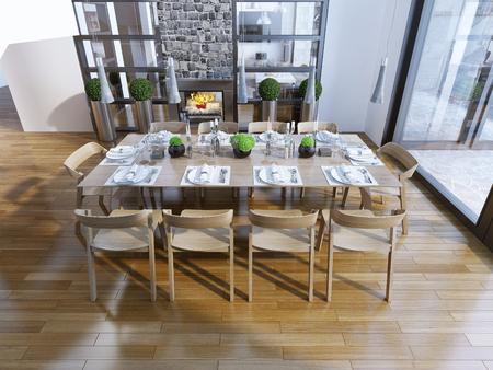 familia cenando: Idea del comedor con chimenea. 3D render