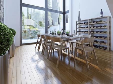 familia cenando: Dise�o de comedor con muebles de color marr�n. Un comedor con techos altos y ventanas panor�micas ofrecen una buena vista. 3D render Foto de archivo