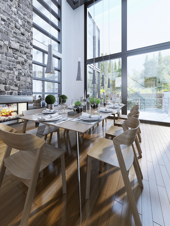panoramic windows: Bright design of dining with panoramic windows. 3D render