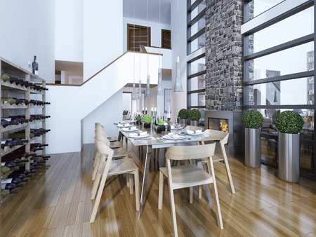 stone fireplace: Dining room modern style with fireplace and home wine rack. Served with a light wooden table for 10 people. Cozy and bright room by the fireplace and panoramic two-story windows. Wine rack for connoisseurs. 3D render Stock Photo