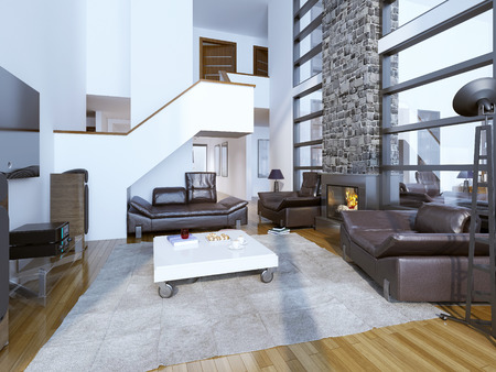 room wall: Design of cozy modern living room. High ceiling room interior. 3D render