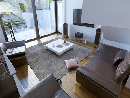 comfort room: Spacious sitting room trend. It's a room for the whole family that oozes comfort and warmth. From the cloth carpet to the leather-upholstered sofas. 3D render