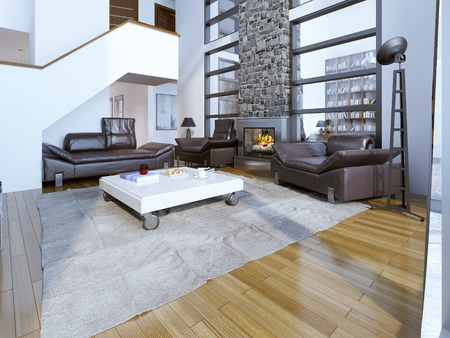 drawing room: Contemporary drawing room design. 3D render Stock Photo