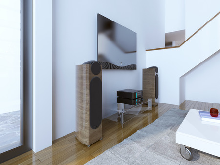 sound system: TV and sound system at modern living room. A wooden speakers with built-in subwoofer. 3D render