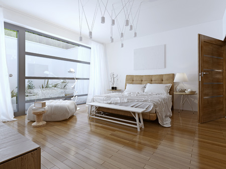 bedroom: Bright bedroom contemporary style.  Beautiful spacious bedroom in the cottage house. A private bathroom and a balcony with a view. 3D render