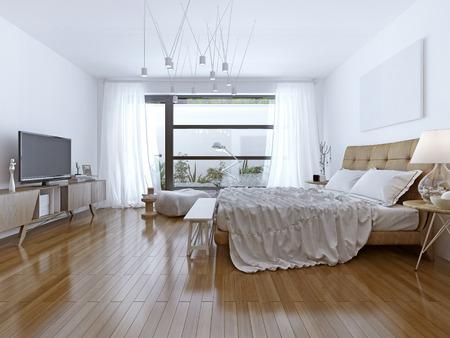 chambre: Conception de chambre lumineuse style contemporain. 3D render