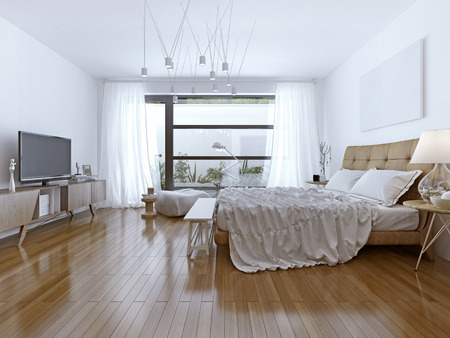 bedroom wall: Design of bright bedroom contemporary style. 3D render