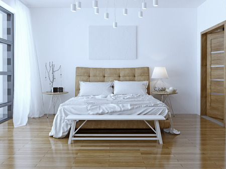 Interior design: Big modern Bedroom. 3D render Stock Photo