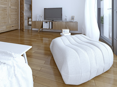ottoman: Soft ottoman in the bedroom. 3D render