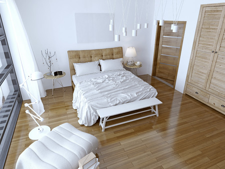 wall decoration: Modern bedroom with brown bed and white wall. Spacious room with a balcony and floor-to-ceiling windows. 3D render