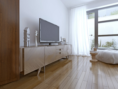 modern apartment: Tv table on contemporary bedroom
