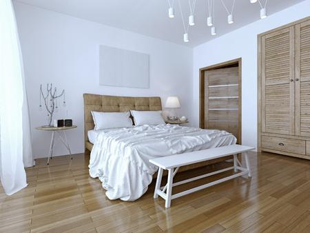 아름답고 현대적인 집, 호텔 침실. 두 가지 색상의 대비 : 흰색과 갈색. 베개와 정돈 침대, 아름다운 매달려 램프. 3D 렌더링