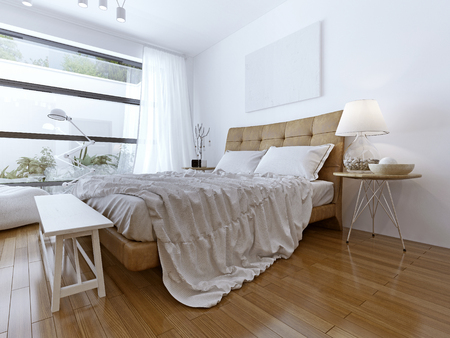 ceiling light: Modern bedroom with floor to ceiling windows. Bright room with light wood laminate. a large bed and a snow-white Tulle. White bench beside the bed. 3D render Stock Photo