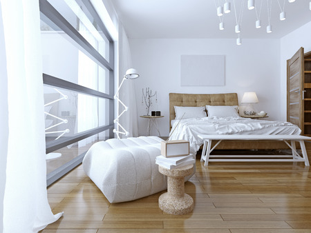 bedchamber: Bedroom with white walls in modern style. floor to ceiling panoramic window and pendant lamps provide a good light in the room.  3D render