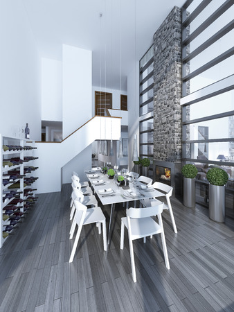 stone  fireplace: Idea of spacious high-ceiling dining . White decorated table with white chairs, a fireplace with a stone chimney, wine rack. The high ceiling, white walls. All this gives elegance to this room. 3D render Stock Photo
