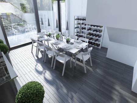 Ontwerp van high-tech dineren met panoramisch venster. Wit meubilair en grijze hanglamp boven tafel. Het ontwerp van de ruime eetkamer met witte muren en grote ramen. 3D render