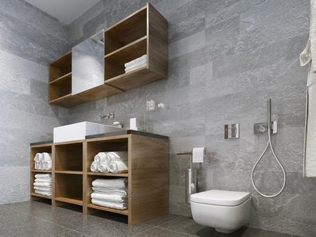 Moderne badezimmer in schwarzen fliesen mosaik und braunen möbeln