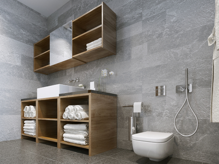 Bathroom modern style. Compromising with wood and natural stone bathroom perfectly for a hotel or house. 3D render