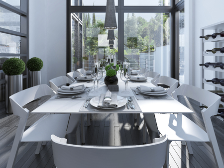 Served table on contemporary dining. White furniture and beautifully decorated table for ten persons. All this is in a large room with fireplace and large panoramic windows. 3D render