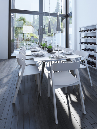 panoramic windows: Modern dining room design with wine rack. Served table with white furniture and parquet gray. The wine rack and large panoramic windows. 3D render Stock Photo
