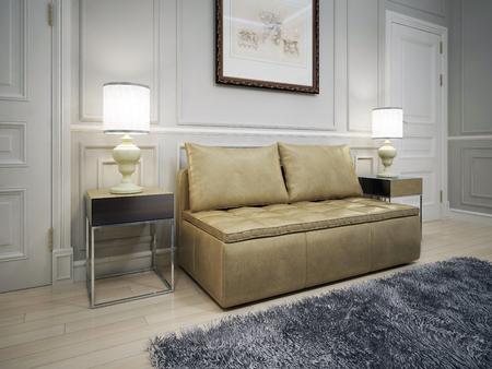 유행: 아방가르드 입구의 디자인. picture.3D와 함께 밝은 회색 성형 벽 앞에 갈색 가죽 소파 렌더링