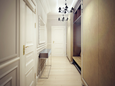 Modern corridor style. a narrow and functional corridor with.. stock