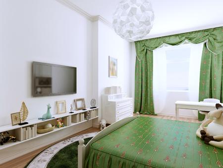 46192422 idee van kinderen provance slaapkamer deze slaapkamer geeft ruimte om hun ideen tot bloei helder ontwerp van de ruime kamer 3d render