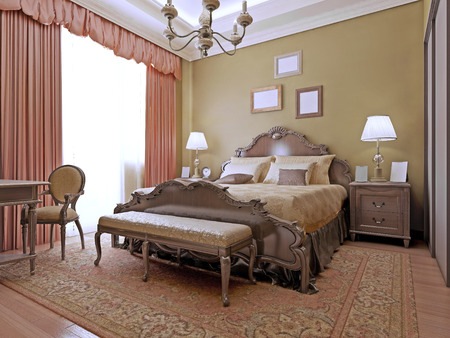 Expensive bedroom art deco style. Interior bright bedrooms made from the highest quality materials. The luxurious English style. 3D render