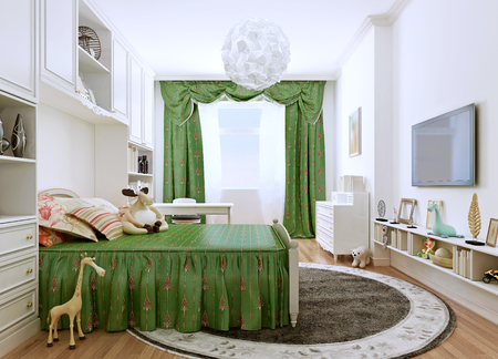 classic contrast: Childrens bedroom in a classic style. Spacious room in bright summer colors. The contrast of white walls and furniture and bright green curtains and bed. 3D render Stock Photo