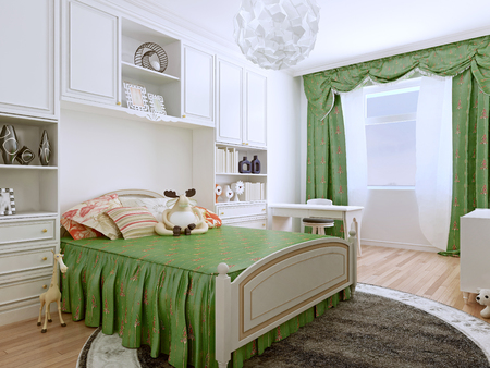 bedchamber: Bedroom art deco style. The children's bedroom, with it light and airy outlook, are furnished with easy-care and practical finishes. 3D render