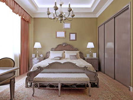 bedchamber: Art deco bedroom with ceiling neon lights.Comfortable room with a luxurious bed and a wardrobe.3D render