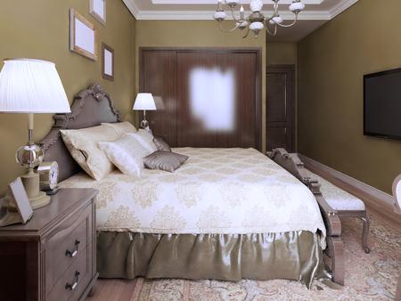 camera da letto di lusso in stile inglese. letto di lusso con ... - Camera Da Letto In Inglese