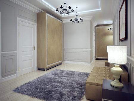 wood ceiling: Spacious avant-garde entrance trend. 3D render