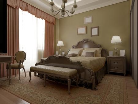 bedchamber: Vintage classic bedroom interior. 3D render Stock Photo