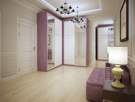closet: Spacious entrance art nouveau design. Modern without being stark interior of hallway with purple furniture and light wood flooring.  3D render