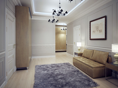 ceiling: Spacious hallway art deco style. Modern hall with molding wall and neon lighting ceiling. Coarse wool carpet in the middle and brown furniture. 3D render