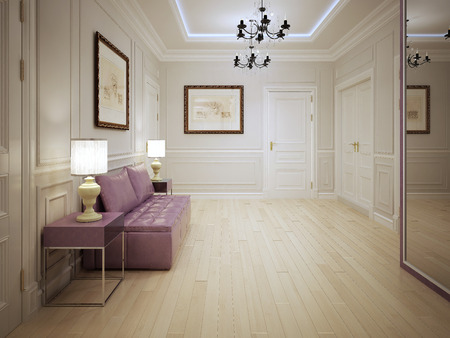 Modern style of entrance hall. Entrance hall with molded wall panels with pink furniture . Lighting is done by ceiling neon lights, elegant chandeliers and table lamps. 3D render Stock Photo