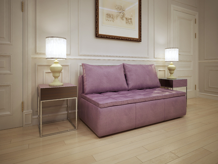 wood molding: Idea of modern hall. Soft pink sofa with pillows in the corridor. The white molding walls with light wood flooring. 3D render