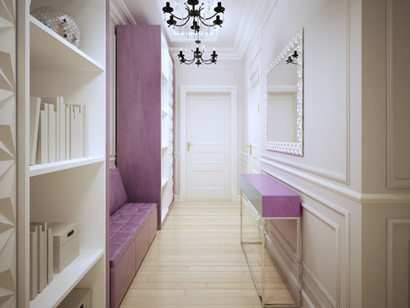 wood molding: Contemporary corridor design. Entrance hall with cupboards, a soft pink leather sofa, console and large mirror. 3D render Stock Photo