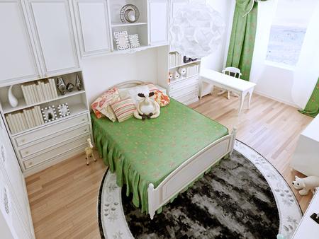 bedchamber: Interior of the provance teenagers room. 3D render Stock Photo