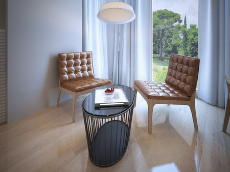 wooden insert: Coffe table with chairs near panoramic window. 3D render