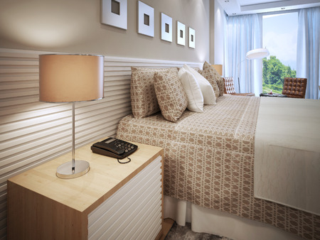 bedside lamp: Contemporary bedroom design. Done bed with cushions, wooden bedside table with phone and table lamp with brown shade. Wall decorated with white stripes, like bedside table. 3D render