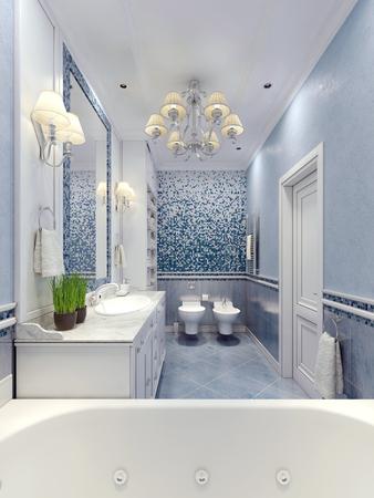 Elegant  provence bathroom design. 3D render