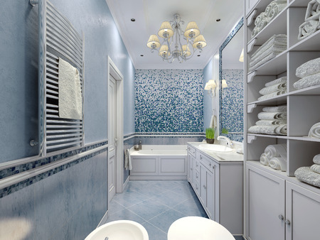 Spacious blue bathroom classic style.  Bath, toilet, bidet, white furniture, great luxurious chandelier, white ceiling. Mix of plaster and tile. 3D render