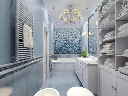 Badezimmer art deco stil. gestaltung von badezimmer mit blauen farbe