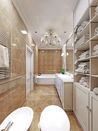 ���wall tiles���: Elegant  provence bathroom design. Long bathroom with wall tiles. Luxury chandelier and white multi-level ceiling.  3D render