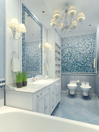 classic contrast: Bright bathroom classic style. Luxury chandelier, mirror, white furniture and built-in sink, toilet and bidet. Marble floor tiles, wall mosaic with light blue and dark-blue contrast colors. 3D render Stock Photo